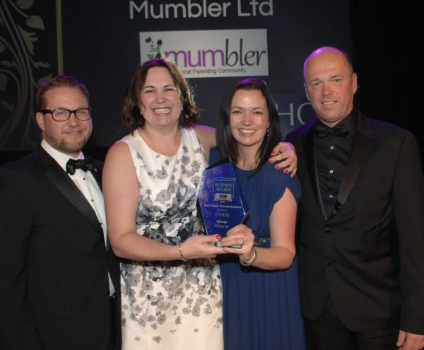 Harrogate Advertiser Business Awards Winners Mumbler Ltd Sally Haslewood, David Haslewood and Emily Pickard