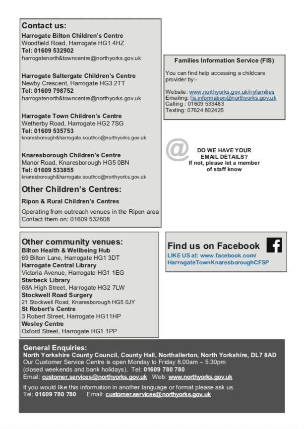 Contact Details For Harrogate Childrens Centres